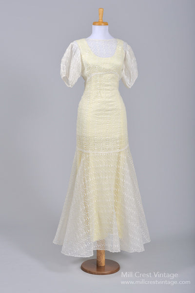 1940 Organdy Eyelet Vintage Wedding Gown - Mill Crest Vintage