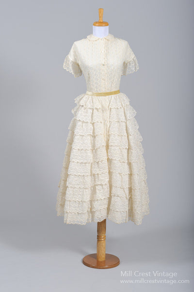 1940 Ruffled Vintage Wedding Dress-Mill Crest Vintage