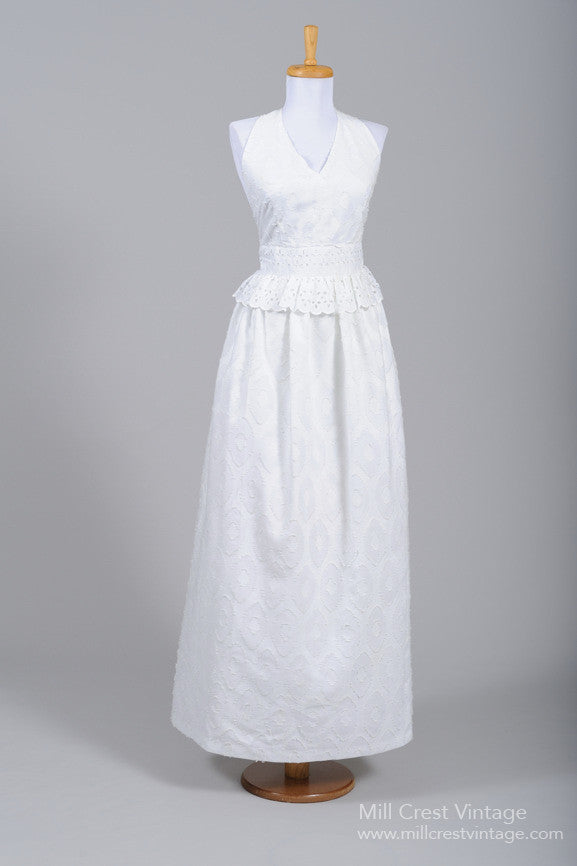 1970 Cotton Halter Vintage Wedding Dress - Mill Crest Vintage