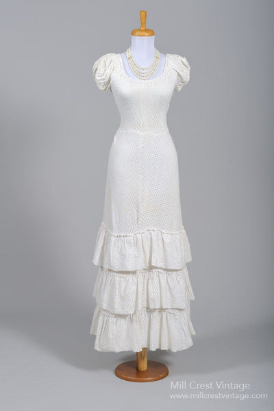 1940 Cotton Jersey Eyelet Vintage Wedding Gown - Mill Crest Vintage