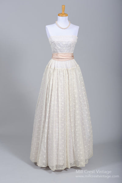 1950 Organdy Vintage Wedding Gown - Mill Crest Vintage