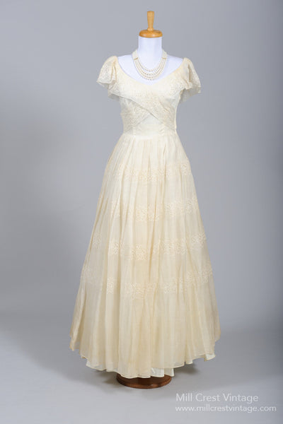 1950 Organdy Shawl Vintage Wedding Gown - Mill Crest Vintage