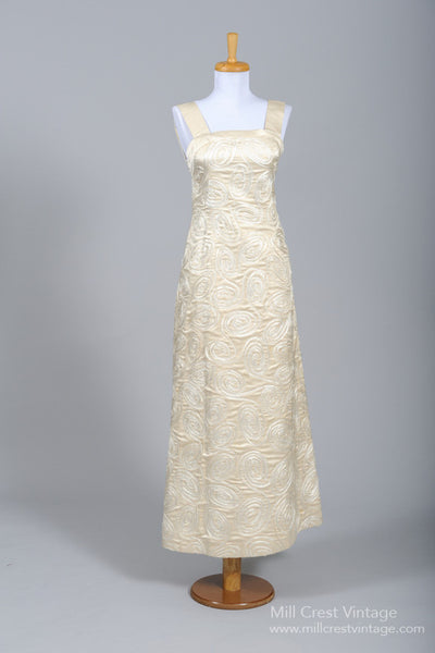 1970 Champagne Soutache Vintage Wedding Gown - Mill Crest Vintage