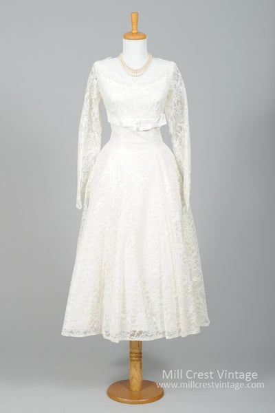 1950 Lace Floral Vintage Wedding Dress-Mill Crest Vintage