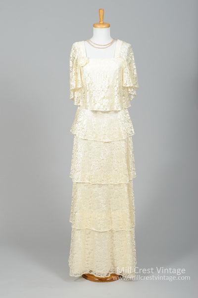 1970 Ivory Tiered Vintage Wedding Gown - Mill Crest Vintage