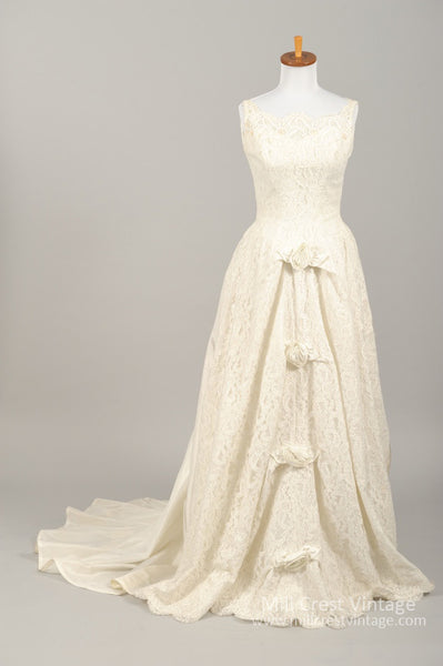 1960 Rosette Lace Vintage Wedding Gown - Mill Crest Vintage