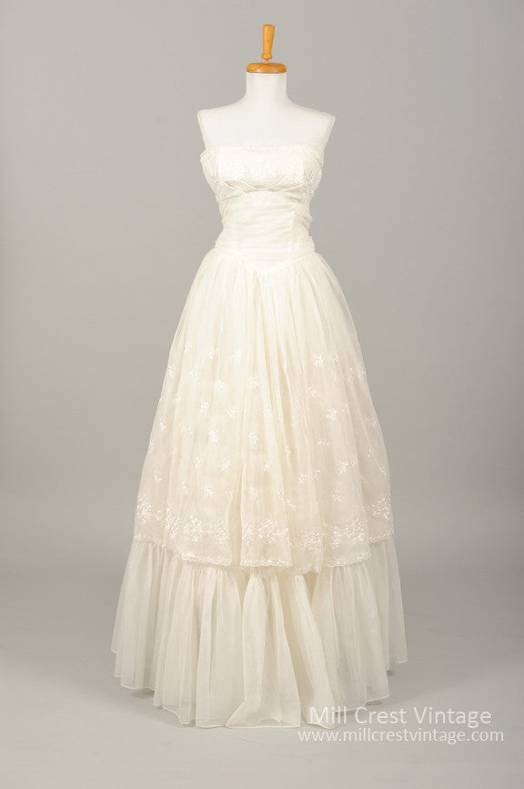 1960\'s Embroidered Chiffon Vintage Wedding Gown