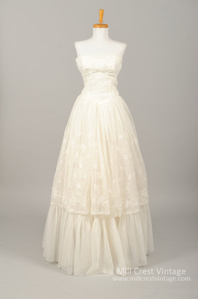 1960 Embroidered Chiffon Vintage Wedding Gown - Mill Crest Vintage