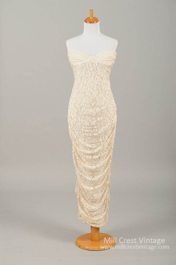 1970 Lace Knit Vintage Wedding Gown-Mill Crest Vintage