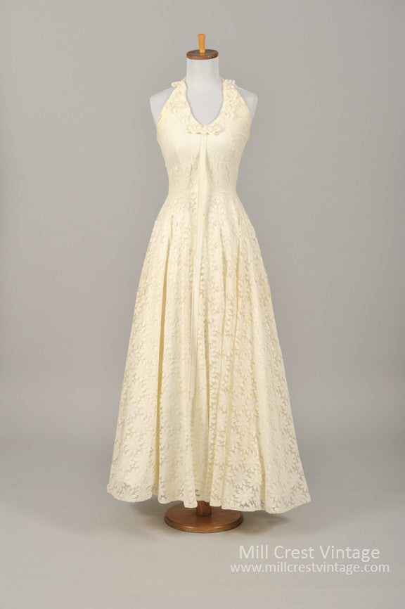 1960 Daisy Lace Halter Vintage Wedding Gown - Mill Crest Vintage