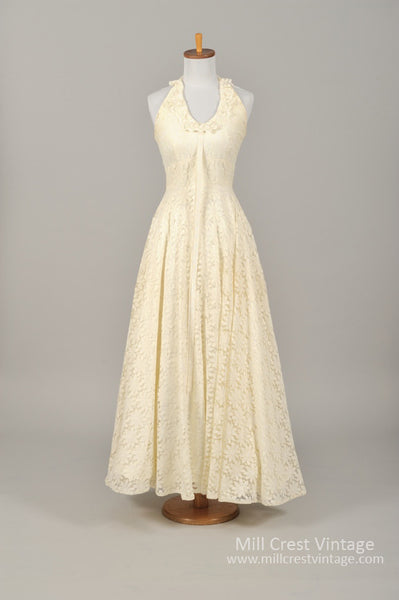 1960 Daisy Lace Halter Vintage Wedding Gown-Mill Crest Vintage