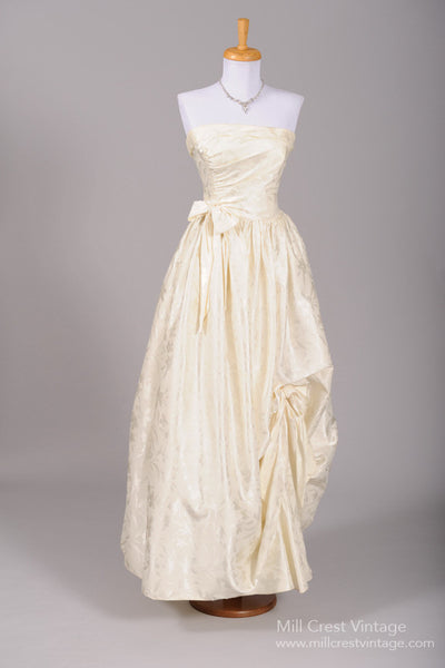 1970 Bustled Damask Satin Vintage Wedding Gown - Mill Crest Vintage