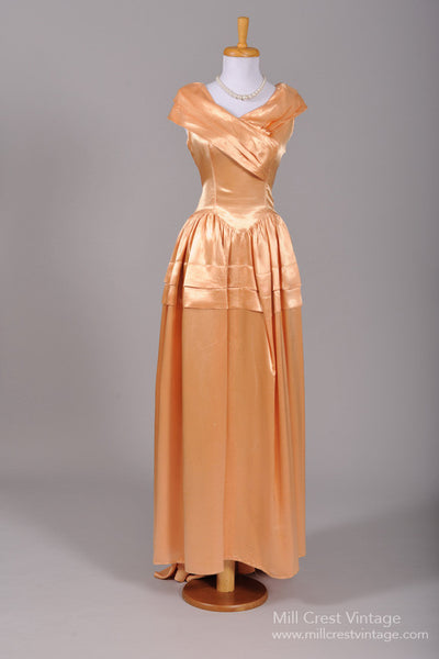 1950 Peach Liquid Silk Vintage Wedding Gown-Mill Crest Vintage