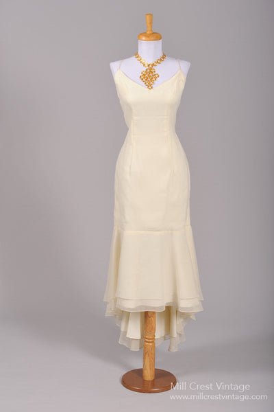 1970 Chiffon Mermaid Vintage Wedding Dress-Mill Crest Vintage
