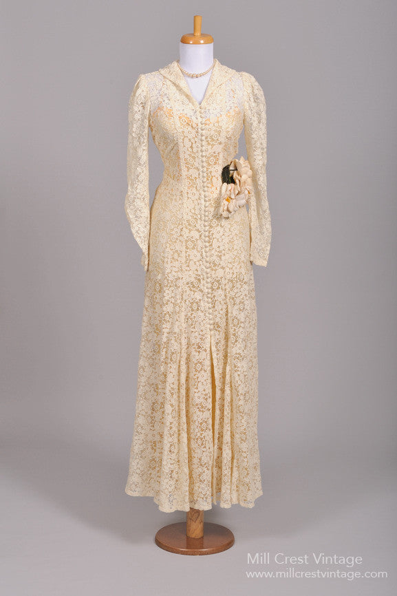 1940s Crochet Lace Vintage Wedding Gown