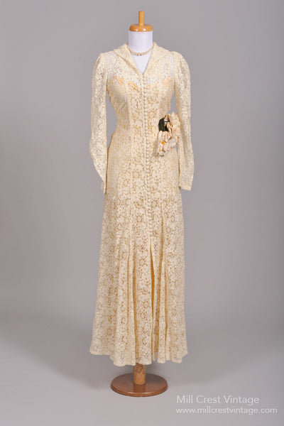 1940 Crocheted Lace Vintage Wedding Gown - Mill Crest Vintage