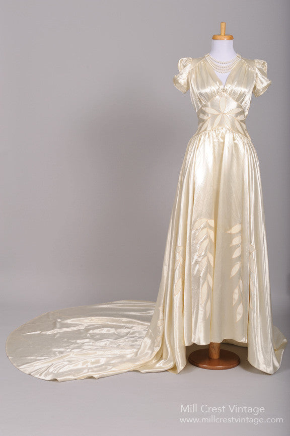 1940 Liquid Silk Leaf Vintage Wedding Gown