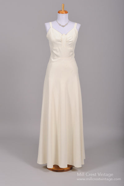 1940 Sharkskin Vintage Wedding Gown - Mill Crest Vintage