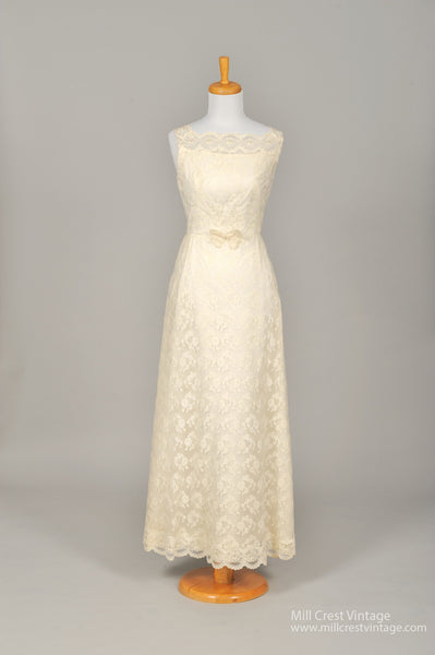 1960 Pearl & Lace Vintage Wedding Gown - Mill Crest Vintage