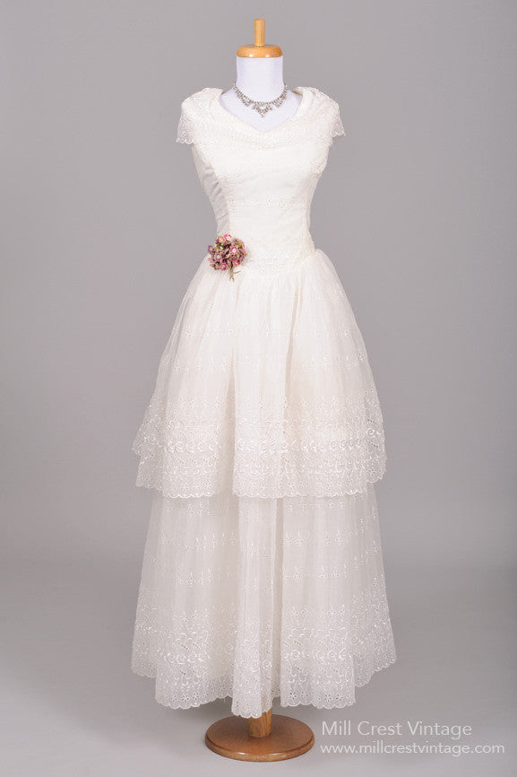 ff27e2f460d 1950 Eyelet Chiffon Vintage Wedding Gown - Mill Crest Vintage