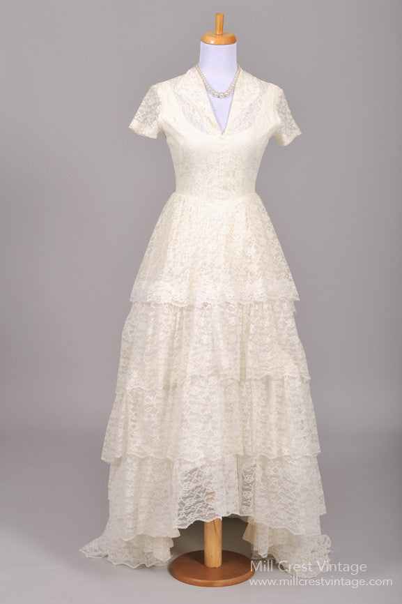 1950 Pearl Lace Vintage Wedding Gown - Mill Crest Vintage