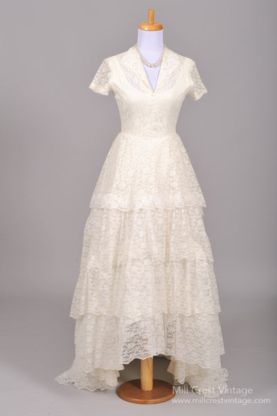 1950 Pearl Lace Vintage Wedding Gown-Mill Crest Vintage