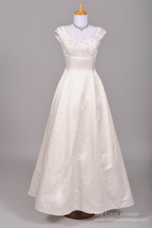 1970 Silver Embroidered Vintage Wedding Gown-Mill Crest Vintage