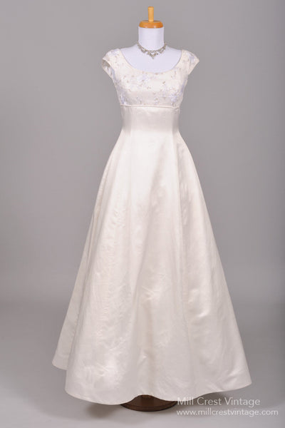 1970 Silver Embroidered Vintage Wedding Gown - Mill Crest Vintage
