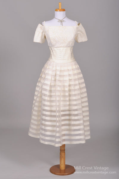 1980 Organza Ribbon Vintage Wedding Dress-Mill Crest Vintage