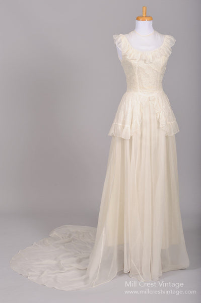 1940 Eyelet Organdy Vintage Wedding Gown - Mill Crest Vintage