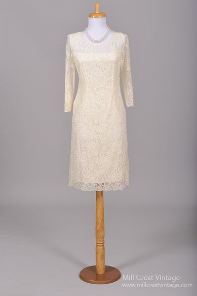 1960 Pearl Lace Vintage Wedding Dress-Mill Crest Vintage