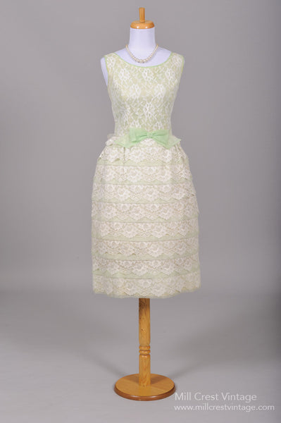 1960 Mint Green Tiered Wedding Dress - Mill Crest Vintage