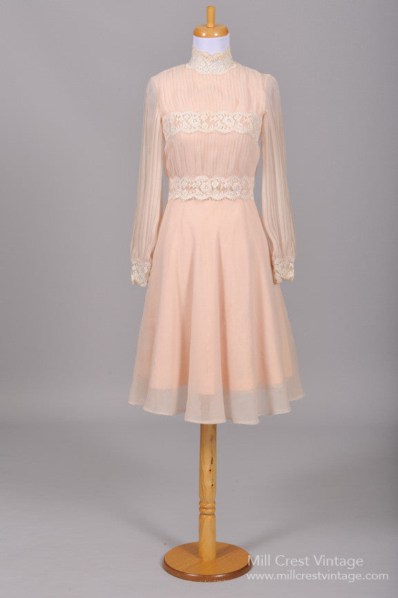 1970 Pink Lace Vintage Wedding Dress - Mill Crest Vintage