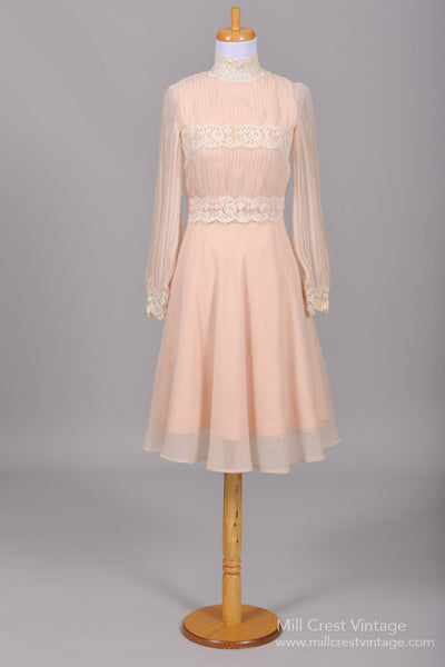 1970 Pink Lace Vintage Wedding Dress-Mill Crest Vintage