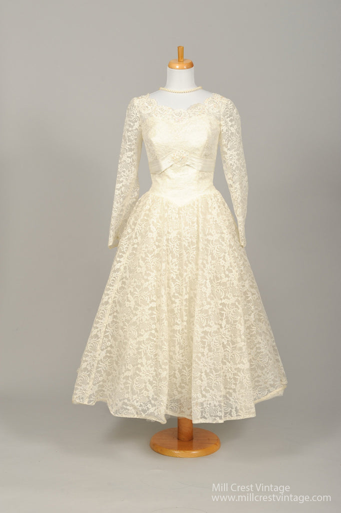 1950 Sequin Tea Length Vintage Wedding Dress - Mill Crest Vintage