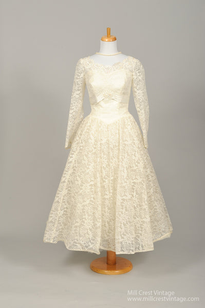 1950 Sequin Tea Length Vintage Wedding Dress-Mill Crest Vintage