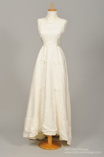 1950 Lace Embroidered Taffeta Vintage Wedding Gown - Mill Crest Vintage