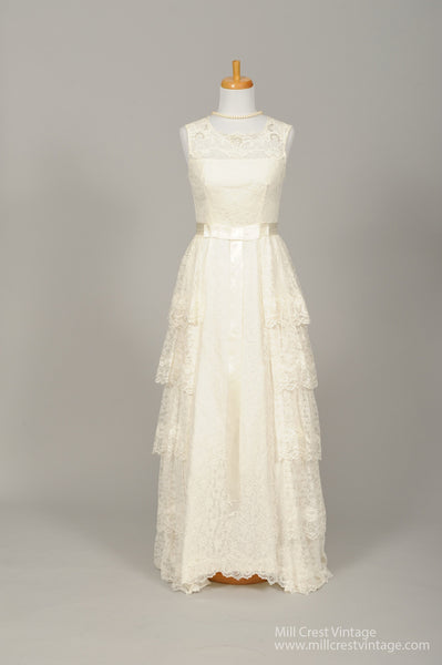 1950 Asymmetrical Lace Vintage Wedding Gown - Mill Crest Vintage