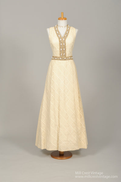 1960 Jeweled Crochet Vintage Wedding Gown - Mill Crest Vintage