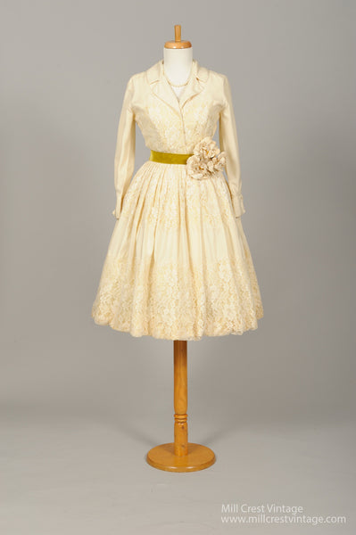 1950 Vanilla Shirtmaker Vintage Wedding Dress - Mill Crest Vintage