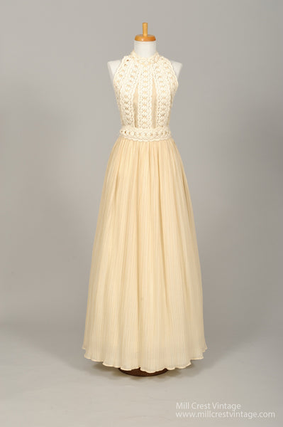 1970 Cotton Crochet Halter Vintage Wedding Gown-Mill Crest Vintage