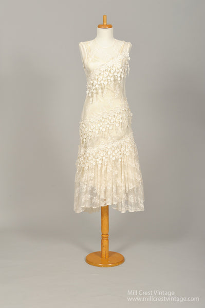 1970 Sheer Lace Embroidered Vintage Wedding Dress - Mill Crest Vintage