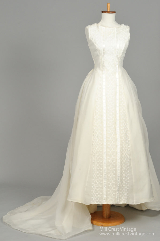 1960 Embroidered Vintage Wedding Gown - Mill Crest Vintage