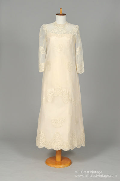 1960 Lace Embroidered Vintage Wedding Gown-Mill Crest Vintage