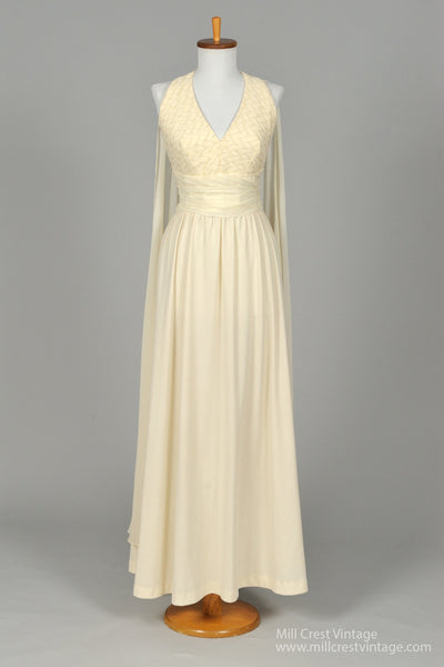 1970 Art Deco Vintage Wedding Gown - Mill Crest Vintage