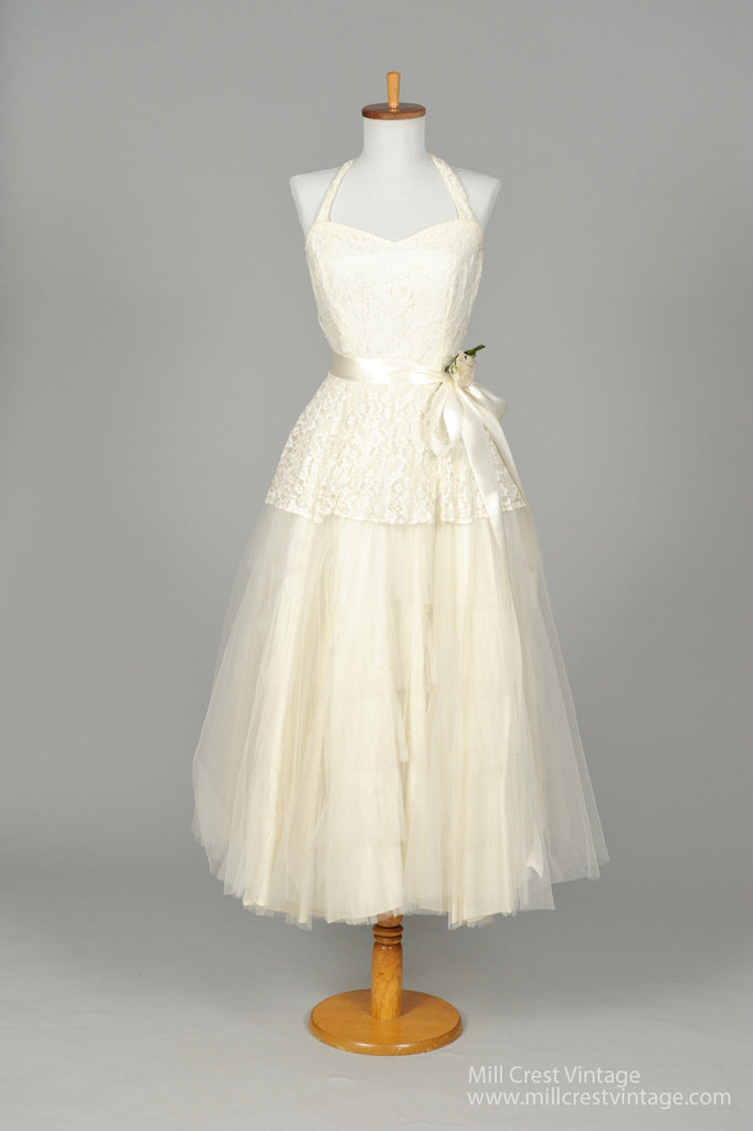 1950 Halter Style Vintage Wedding Dress - Mill Crest Vintage