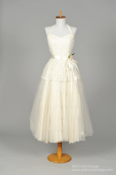 1950 Halter Style Vintage Wedding Dress-Mill Crest Vintage