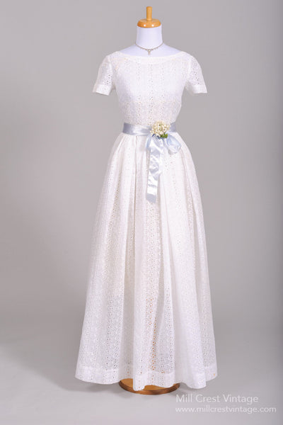1950 Eyelet Summer Vintage Wedding Gown-Mill Crest Vintage