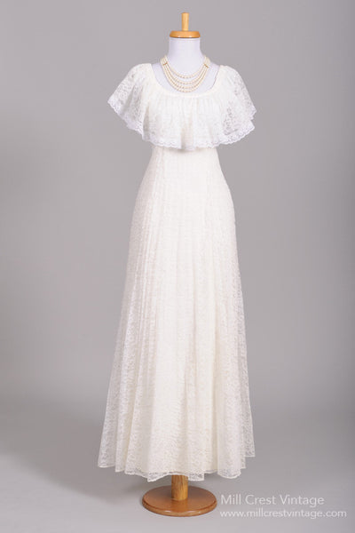 1970 Lace Shawl Vintage Wedding Gown-Mill Crest Vintage