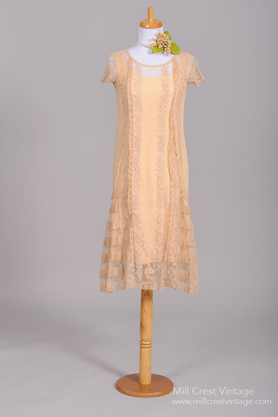 1920 Tea Stained Lace Vintage Wedding Dress - Mill Crest Vintage